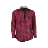Casual Red Check Men's Hoodie Shirt