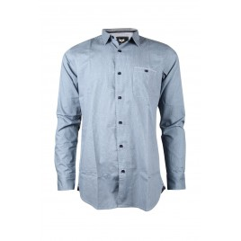 Casual Printed Blue Denim Shirt With Elbow Patches