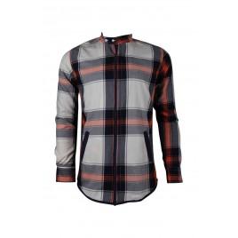 Casual Orange Red Mixed Check Men's Shirt
