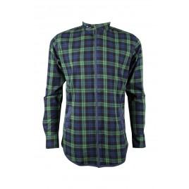 Casual Navy Green Check Men's Shirt
