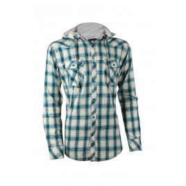 Casual Green Contrast Hoodie Shirt