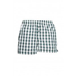 White and Green Check Boxer